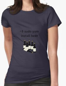 Linux sudo yum install beer Womens Fitted T-Shirt