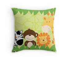 Jungle Safari Animals Throw Pillow