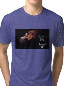 Tchoko says Please Adopt! Tri-blend T-Shirt