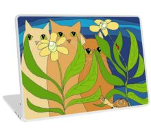 Three Cats, Two Flowers, One Snail and A Ladybug Laptop Skin