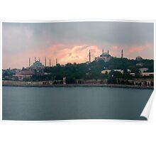 Istanbul Skyline at dusk Poster