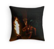Aztec Fire Dancer Throw Pillow