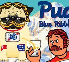 pug blue ribbon by darklordpug