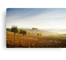 Misty sunrise in the Val D'Orcia, Tuscany Canvas Print