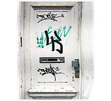 White blattered Graffiti Door Poster