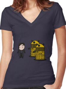 Jack Harkness and the Daleks Women's Fitted V-Neck T-Shirt
