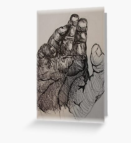 hand in ink Greeting Card