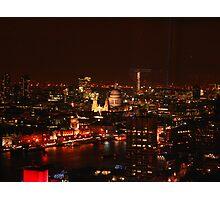 London's City Skyline By Night Photographic Print