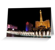 Vibrant Las Vegas - Bellagio's Fountains, Paris, Bally's and Flamingo Greeting Card