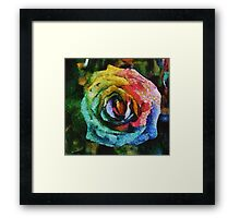 Rainbow Rose painting Framed Print