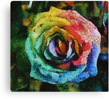 Rainbow Rose painting Canvas Print