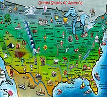 USA Cartoon Map by Kevin Middleton