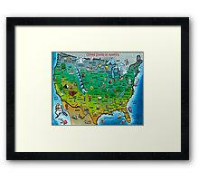 USA Cartoon Map Framed Print
