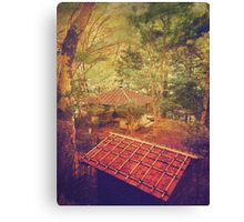 Wooden Gazebo and Small Shed in Forest Canvas Print
