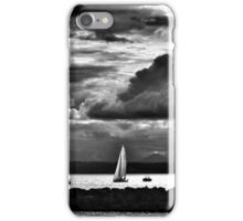 Sailboats racing in black in white iPhone Case/Skin
