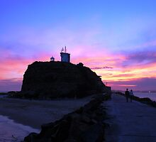 Nobbys Beach Lighthouse at night - Newcastle by JCRPhotos