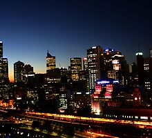 Cityscape of Melbourne by night by boudidesign
