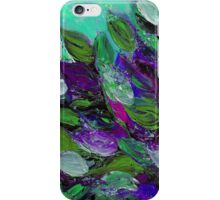 BLOOMING BEAUTIFUL Mint Green Purple Elegant Floral Abstract Leaves Garden Whimsical Textural Colorful Acrylic Flowers Painting iPhone Case/Skin