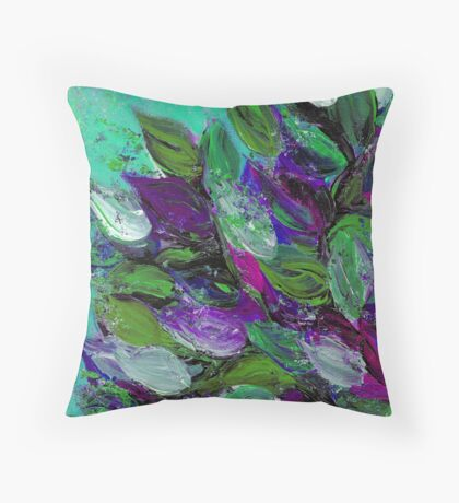BLOOMING BEAUTIFUL Mint Green Purple Elegant Floral Abstract Leaves Garden Whimsical Textural Colorful Acrylic Flowers Painting Throw Pillow