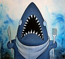 Ready to Eat, hungry great white shark by Rachel  Weaver