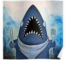 Ready to Eat, hungry great white shark Poster