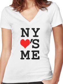 New York Loves Me Women's Fitted V-Neck T-Shirt