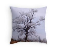 Snow Dusted Tree Throw Pillow