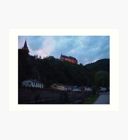 Vienden river and castle at night Art Print