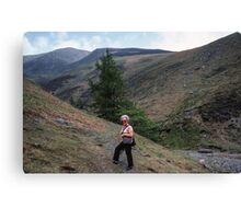 Marj about to go alone on Skiddaw Lake District England 19840524 0012 Canvas Print