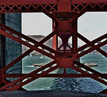Under The GoldenGate Bridge Looking Toward Marin. by Scott Johnson