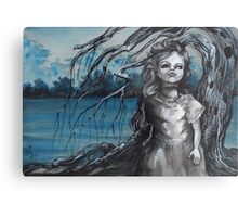 old doll with weeping willow,watercolor and ink painting, creepy doll art, goth, dark Metal Print