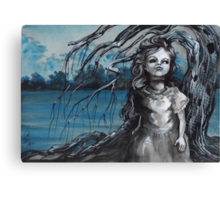 old doll with weeping willow,watercolor and ink painting, creepy doll art, goth, dark Canvas Print