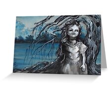 old doll with weeping willow,watercolor and ink painting, creepy doll art, goth, dark Greeting Card