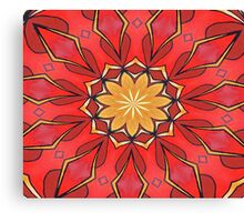 Ochre and Red Abstract Kaleidoscope Canvas Print