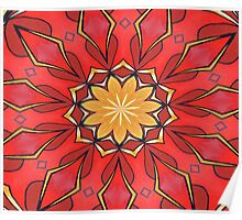 Ochre and Red Abstract Kaleidoscope Poster