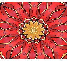 Ochre and Red Abstract Kaleidoscope Photographic Print