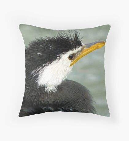 Who Said Eel? - Pied Cormorant - NZ Throw Pillow