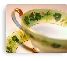 Green Ivy Tea Cup Canvas Print