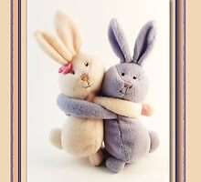 Hugging Bunnies by Martie Venter