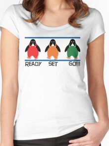 penguin races Women's Fitted Scoop T-Shirt