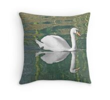 A Mute Swan And It's Reflecion Throw Pillow