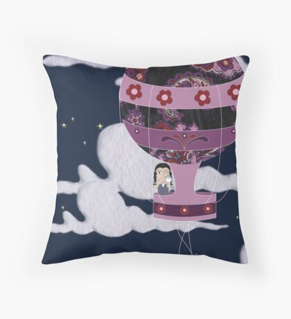 whisk me away in your balloon! Throw Pillow