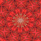 Red Bold Kaleidoscope Pattern by taiche
