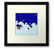 Wonderful winter landscape with bullfinch village Framed Print