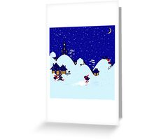 Wonderful winter landscape with bullfinch village Greeting Card