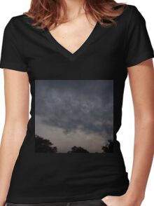 HDR Composite - Rapid Clouds at Day's End Women's Fitted V-Neck T-Shirt