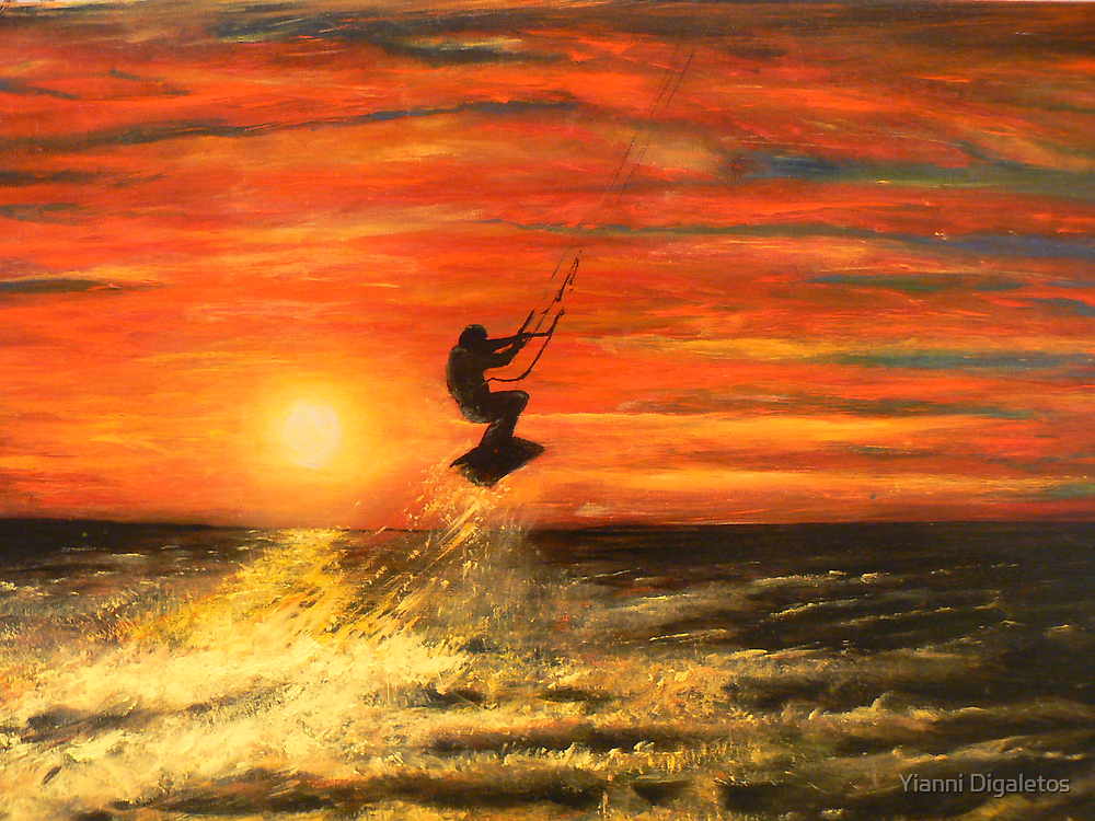 Kitesurfing into a Sandy Hook Sunset by Yianni Digaletos