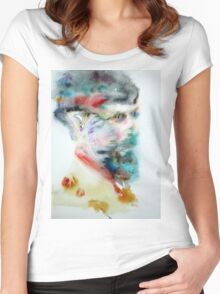 D. H. LAWRENCE - watercolor portrait Women's Fitted Scoop T-Shirt