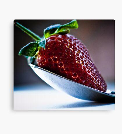 Silver spoon strawberry Canvas Print