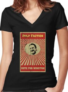 Pulp Faction - Winston Women's Fitted V-Neck T-Shirt